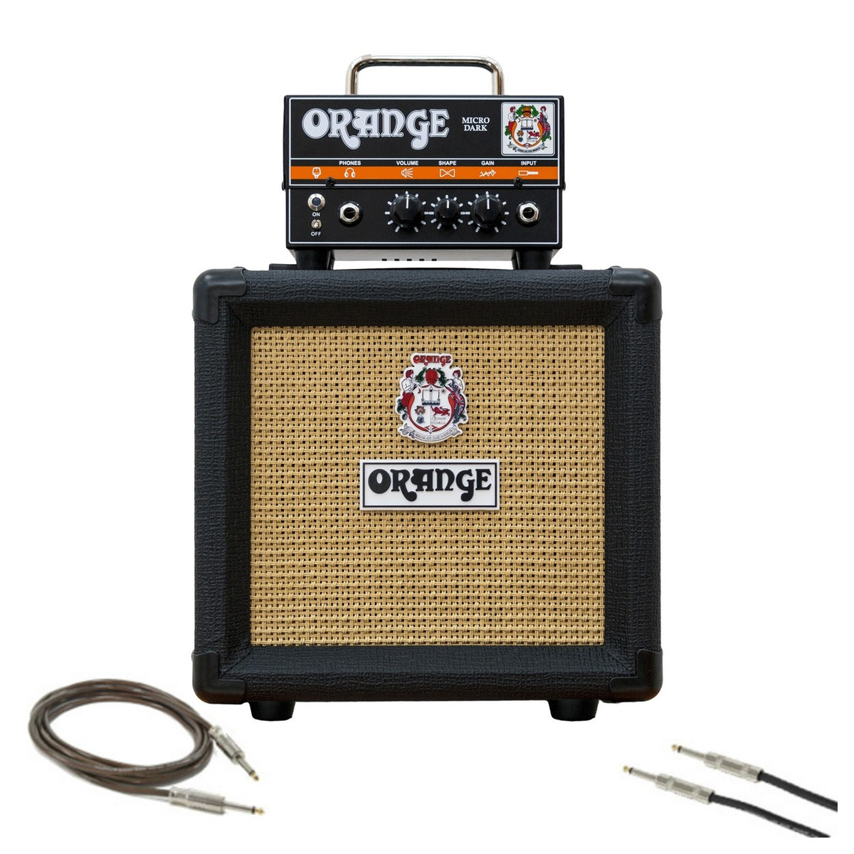 orange micro dark guitar amp pack with cables gear4music. Black Bedroom Furniture Sets. Home Design Ideas