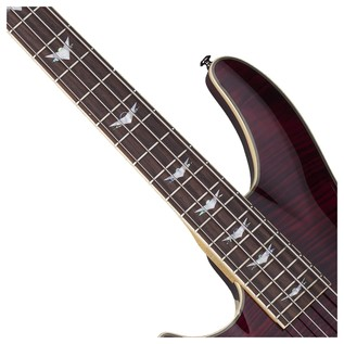 Left Handed Schecter Omen Extreme-4 Bass Guitar, Black Cherry
