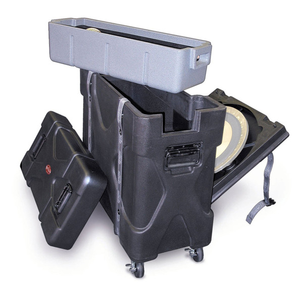 SKB Trap X2 Drum Hardware Case with Built In Cymbal Vault - Angled (Cymbals Not Included)