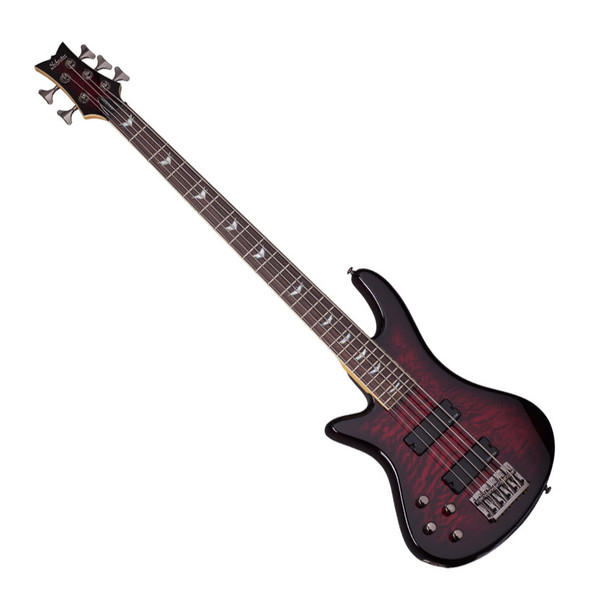Schecter Stiletto Extreme-5 Left Handed Bass Guitar, Black Cherry