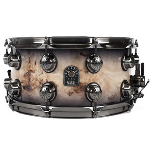 Natal Mappa Burl 14x5.5 Snare Drum, Brushed Nickel HW, Smoked Gloss