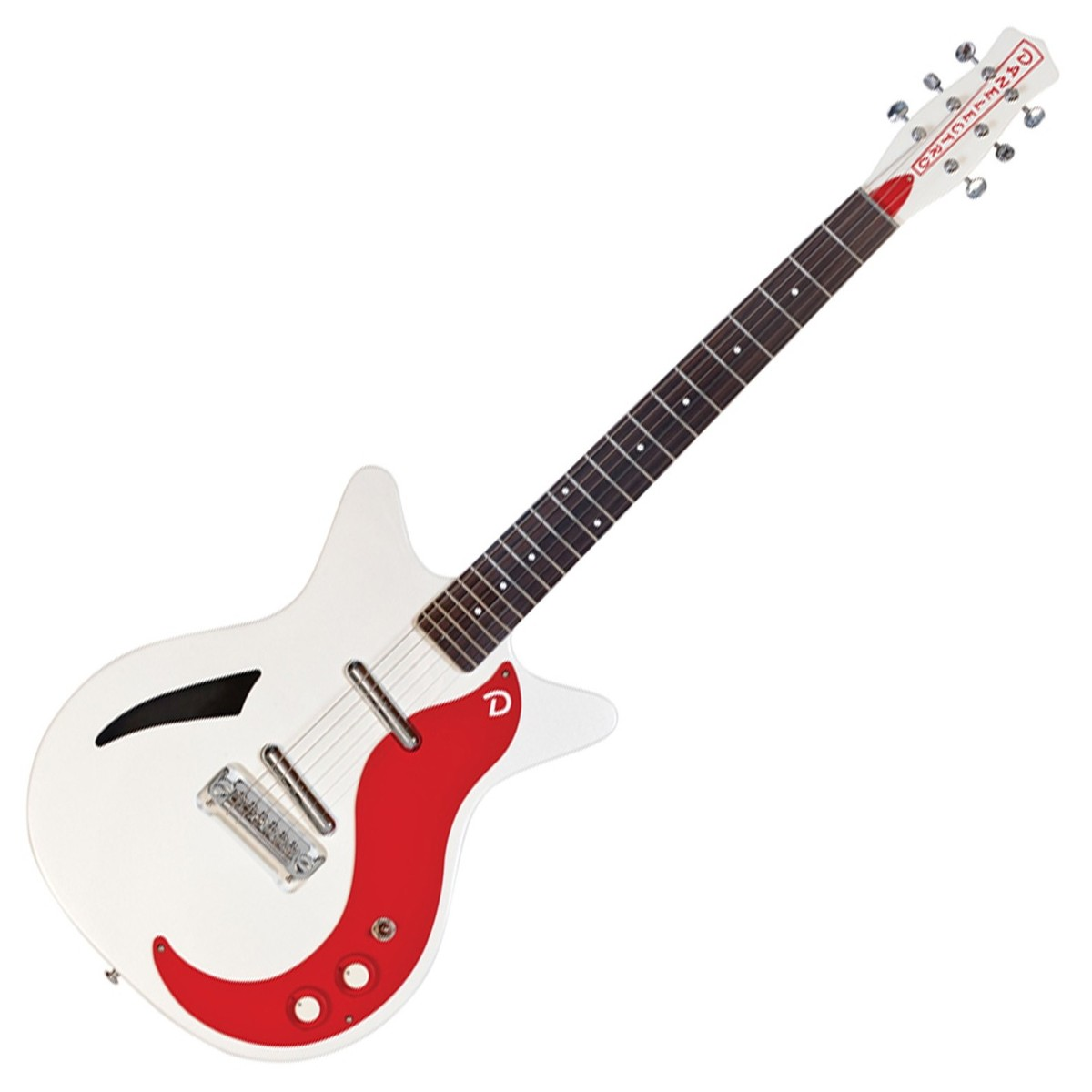 Danelectro DC59M Spruce Electric Guitar, White Pearl/Red
