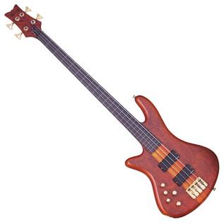 SchecterStiletto Studio-4 FL Left Handed Bass Guitar, Honey Satin