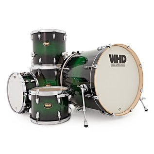 WHD Birch 5 Piece Rock Custom Complete Drum Kit, Green Burst