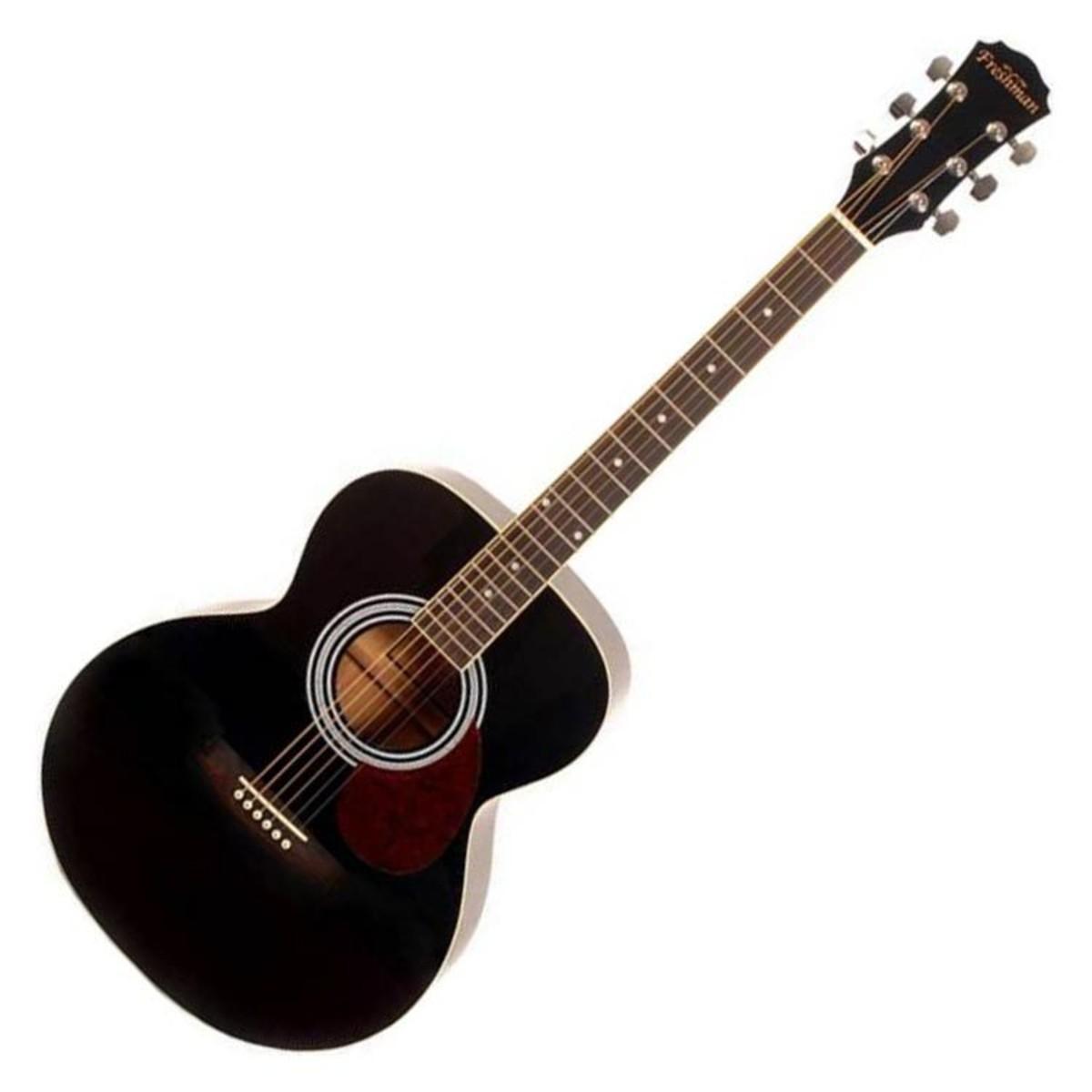 freshman renfbk folk guitare acoustique noir de corps. Black Bedroom Furniture Sets. Home Design Ideas