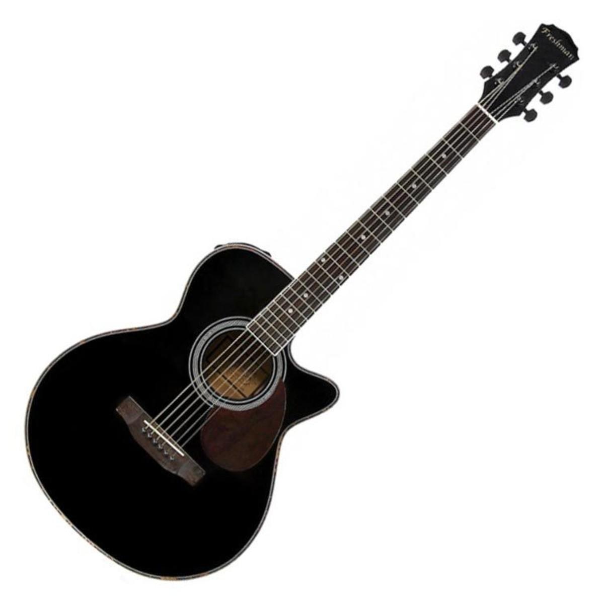 freshman fa1abk folk cutaway electro acoustic guitar black at gear4music. Black Bedroom Furniture Sets. Home Design Ideas