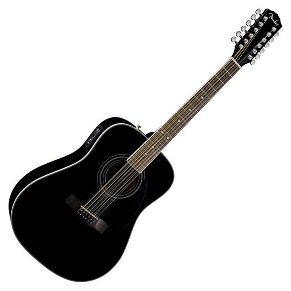 fender cd 160 se 12 string electro acoustic guitar black at gear4music. Black Bedroom Furniture Sets. Home Design Ideas