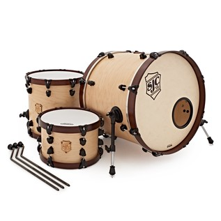 SJC Drums Custom 3 Piece Shell Pack, Natural Satin Stain, Wood Hoops