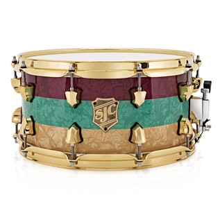 SJC Drums Striped Series 14 x 7 Snare Drum, Seafoam, Red & Aged Pearl