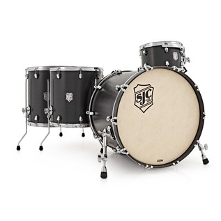 SJC Drums Tour Series 4 Piece Shell Pack , Black Stain, Chrome HW