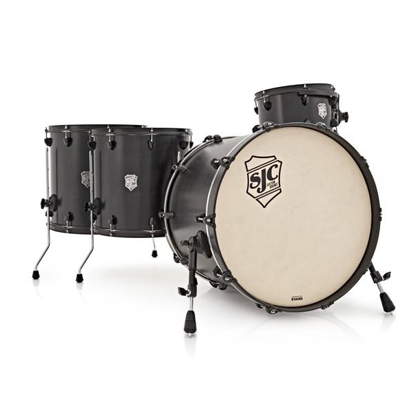 SJC Drums Tour Series 4 Piece Shell Pack, Black Stain, Black HW