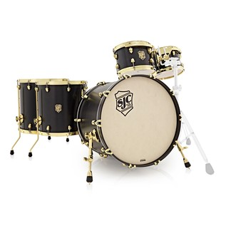 SJC Drums Tour Series 5 Piece Shell Pack , Black Stain, Brass HW
