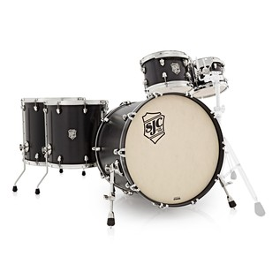 SJC Drums Tour Series 5 Piece Shell Pack , Black Stain, Chrome HW