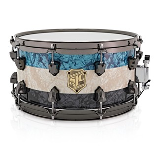 SJC Drums Striped Series 14 x 7 Snare Drum, Blue, White & Black Pearl