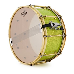 SJC Drums Custom 14x7 Snare Drum, Lime Green Glitter