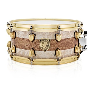 SJC Drums Striped Series 14 x 7 Snare Drum, White Pearl and Paisley