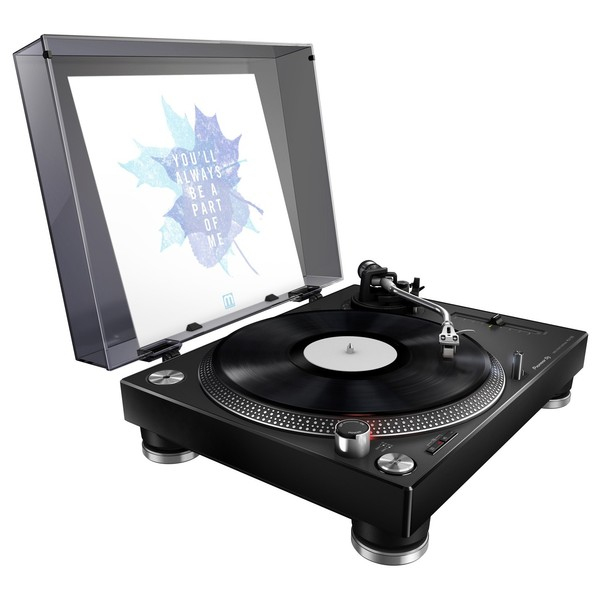 Pioneer PLX-500 Direct Drive Turntable - Angled With Cover (Vinyl Not Included)
