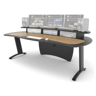 AKA Design Pro Edit Studio Desk, Blue and Maple - Front