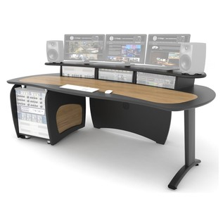 AKA Design ProEdit Studio Desk with 12U Rack, Grey and Oak - Desk