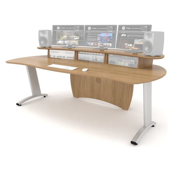 AKA Design ProLite Studio Desk, Oak - Angled Front