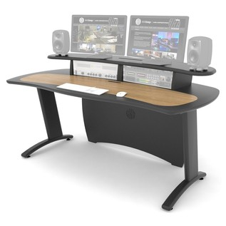 AKA Design ProMedia Desk, Blue and Maple - Angled Front (Equipment Not Included)