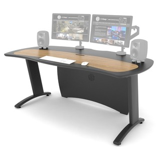 AKA Design ProMedia XB Desk, Grey and Oak - Angled Front