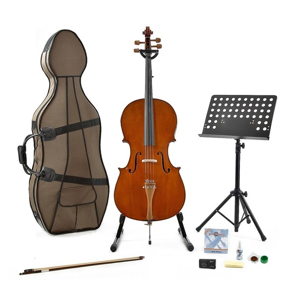 Archer 44C-500 4/4 Size Cello by Gear4music + Complete Pack