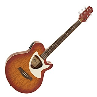 Deluxe Thinline Electro Acoustic Guitar by Gear4music, Cherry SB