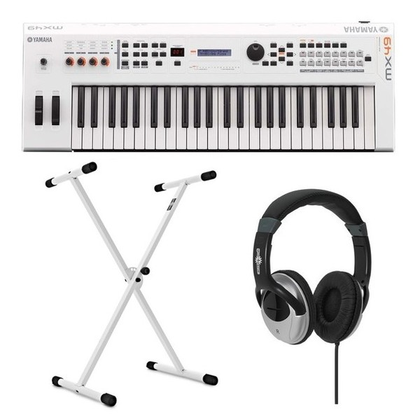 Yamaha MX49 II with Stand and Headphones, White - Composite