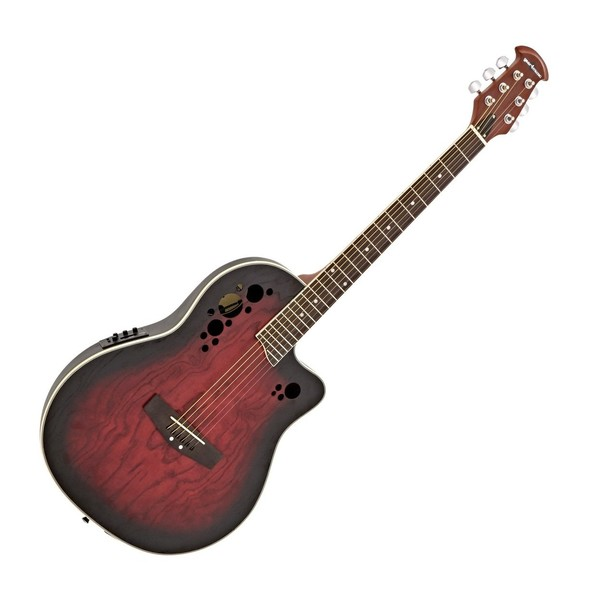 Deluxe Roundback Electro Acoustic Guitar by Gear4music, Red Burst