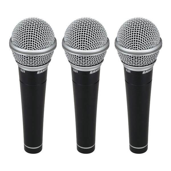 Samson R21 Cardioid Dynamic Vocal Microphone 3-Pack, Front