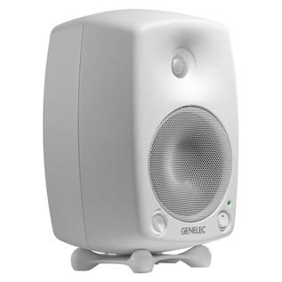 Genelec 8030B Bi-Amped Studio Monitor, White (Single) - Angled