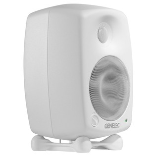 Genelec 8020C Bi-Amped Studio Monitor, White (Single) - Angled