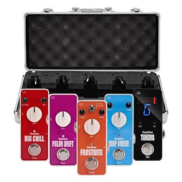 SubZero Micro Guitar Pedal Effects Pack and Pedal Board