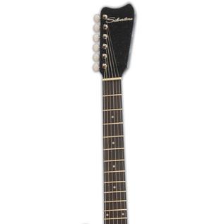 Silvertone 1449 Electric Guitar, Black Silver Flake