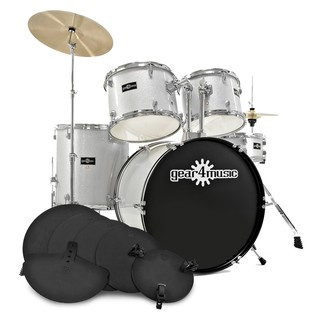 GD-2 Drum Kit + Practice Pack, Silver Sparkle