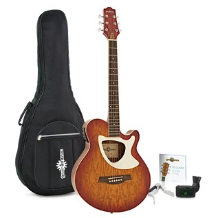 Deluxe Thinline Electro Acoustic Guitar Pack by Gear4music, Cherry SB
