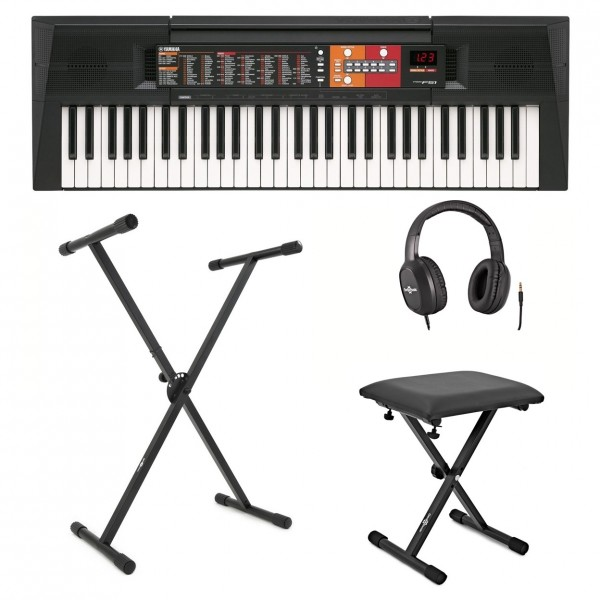 Yamaha PSR F51 Keyboard with X Frame Stand Stool and Headphones