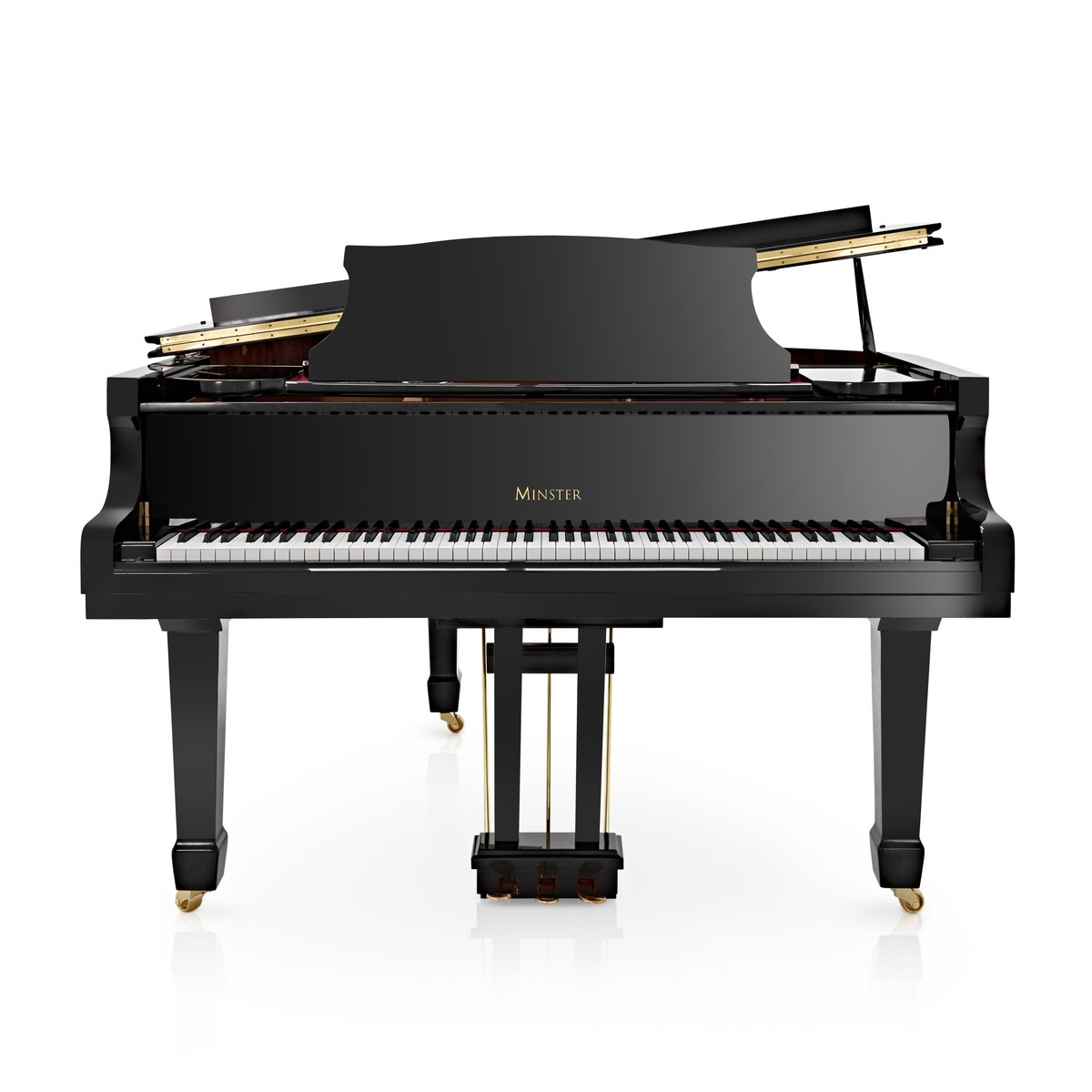 minster acoustic grand piano gloss black ex display at. Black Bedroom Furniture Sets. Home Design Ideas