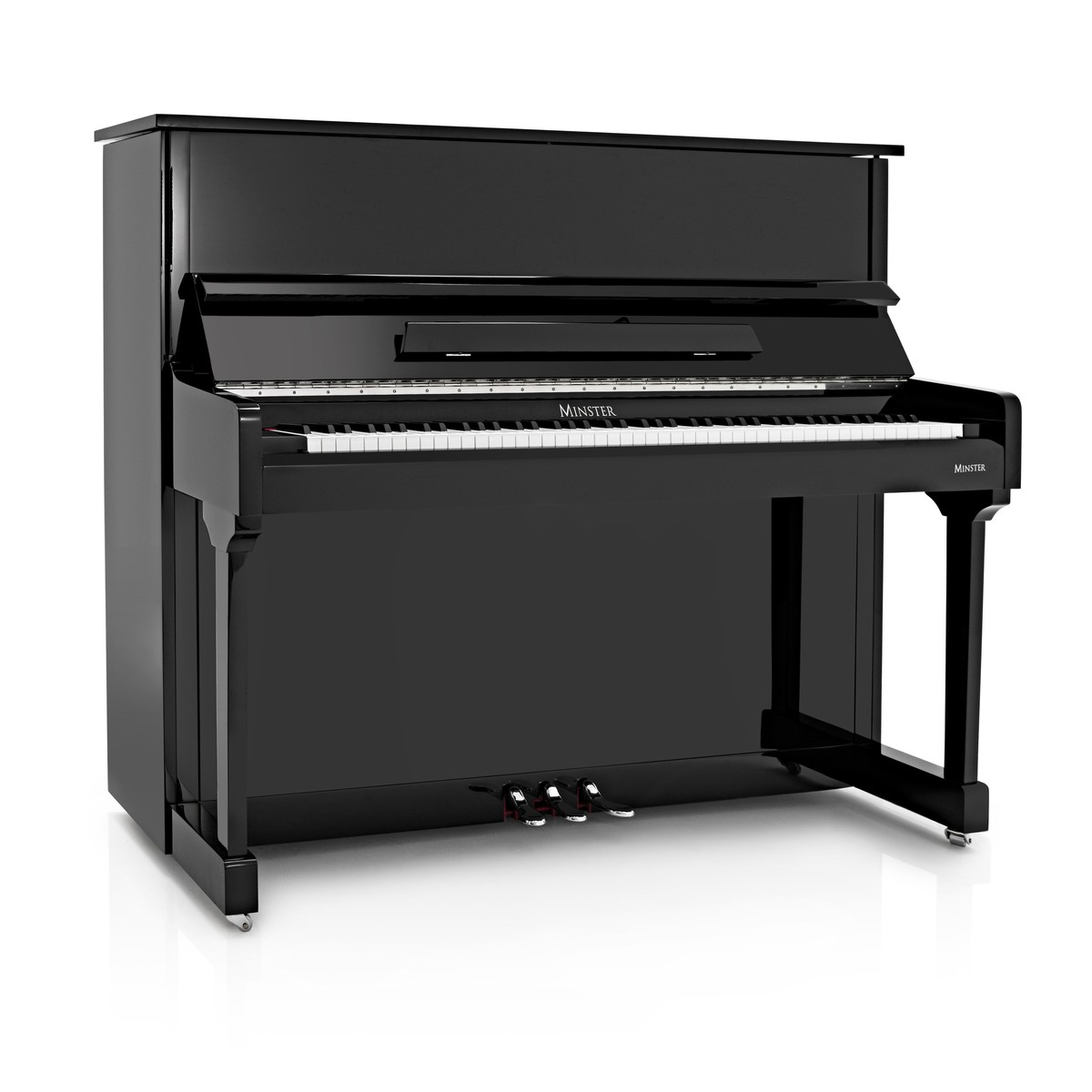minster upright acoustic piano gloss black at gear4music