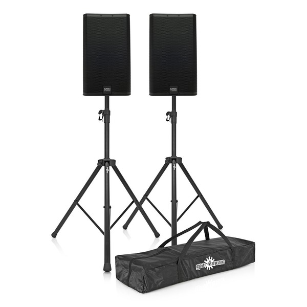 """QSC E15 15"""" Passive PA Speaker Pair with Free Stands"""