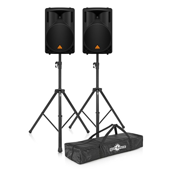 Behringer B215D Active PA Speaker Pair with Stands