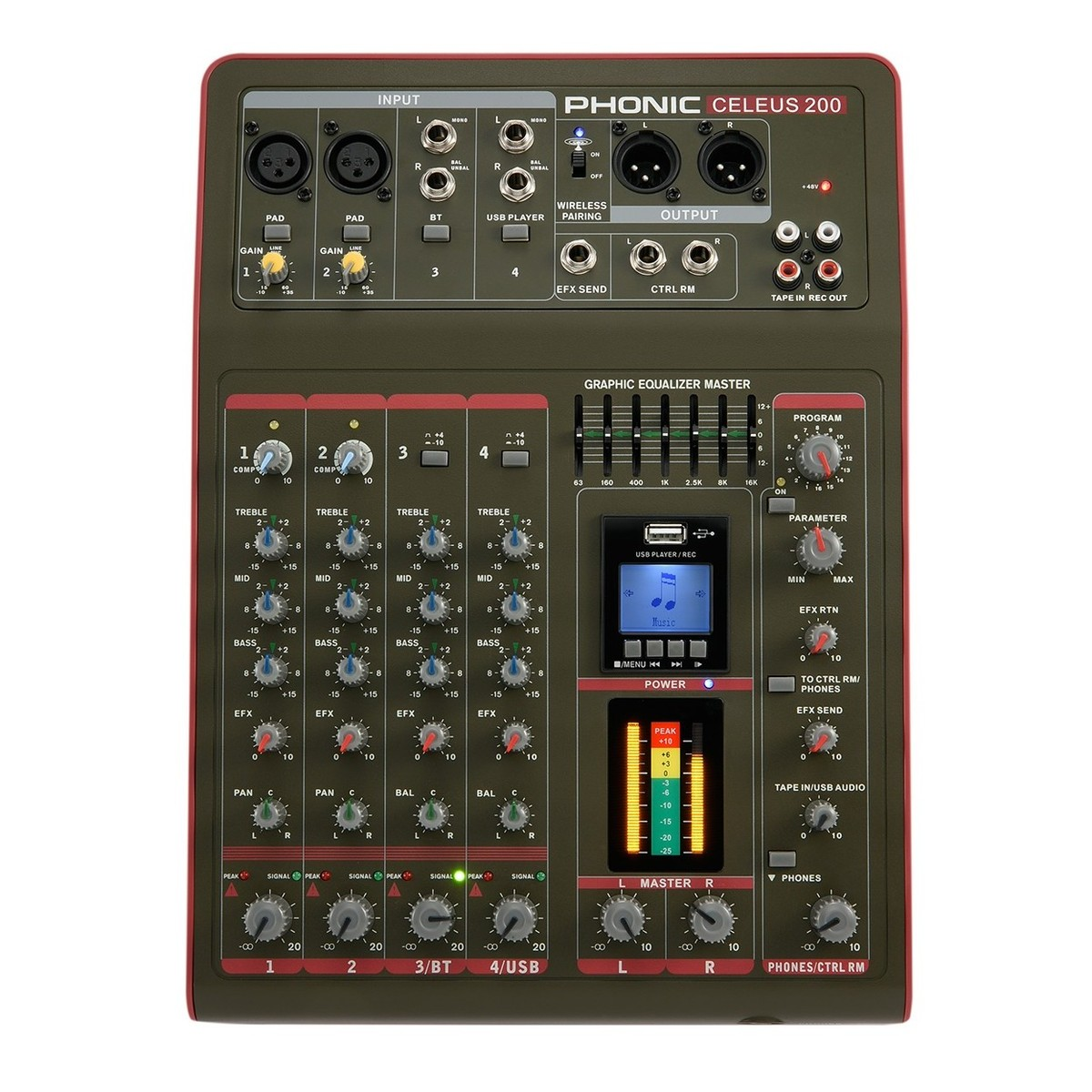 Phonic CELEUS 200 Analog Mixer with USB Recorder and Bluetooth. Loading zoom