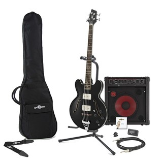 San Francisco Semi Acoustic Bass + RedSub by Gear4music, Black