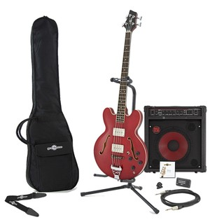 San Francisco Semi Acoustic Bass + RedSub by Gear4music, Wine Red