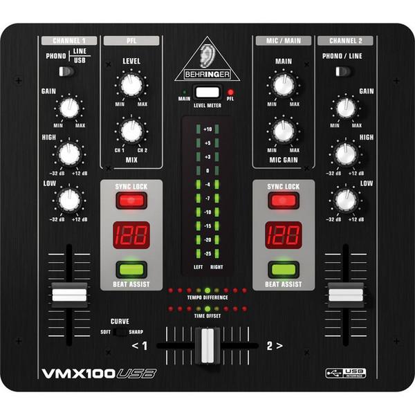 Behringer Pro VMX100USB Professional 2-Channel DJ Mixer