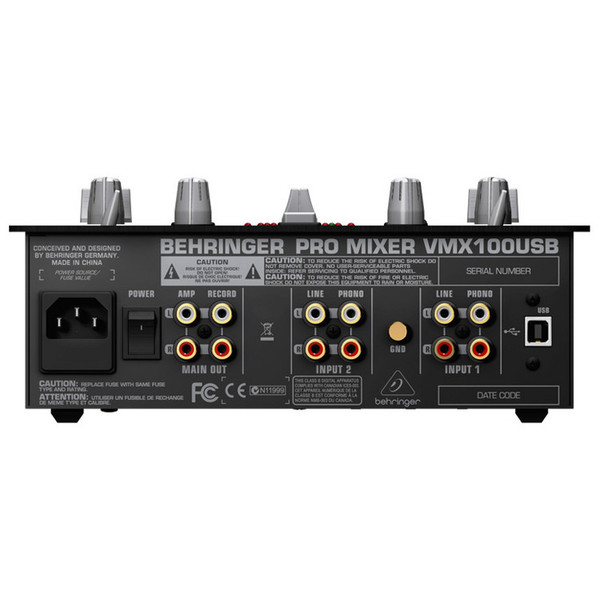 Behringer Pro VMX100USB Professional 2-Channel DJ Mixer - Rear