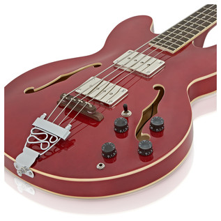 San Francisco Semi Acoustic Bass by Gear4music, Red Wine