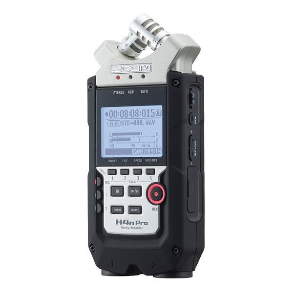 Zoom H4N Pro Handy Recorder with Accessory Pack - Angled Front
