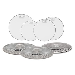 WHD Practice Drum Heads and Cymbals - 4 Piece Rock Pack